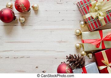 bakgrund, gåva, trä, rutor, utsmyckningar, tabell., jul