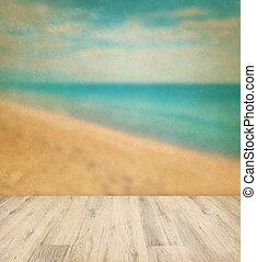 bakgrund, golv, årgång, tropisk, ved, hav