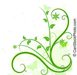 bakgrund., grön, blommig