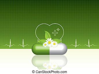 bakgrund, grön, medicinsk