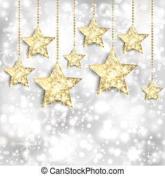 bakgrund, guld, lyse, stjärnor, twinkly, silver