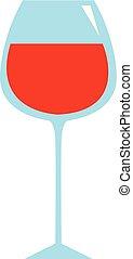 bakgrund., illustration, hand, glas, vektor, oavgjord, vit, design, vin