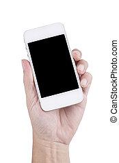 bakgrund, isolerat, hand, ringa, holdingen, tom, vita skärma, smart, man