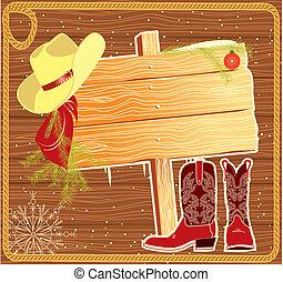 bakgrund, jul, affischtavla, vektor, cowboy, ram, hat.
