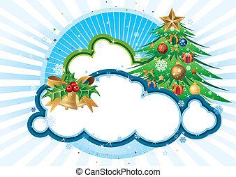 bakgrund, jul, blå