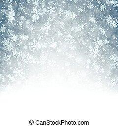 bakgrund, jul, fallen, snowflakes.