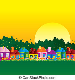 bakgrund, karikatyr, hus