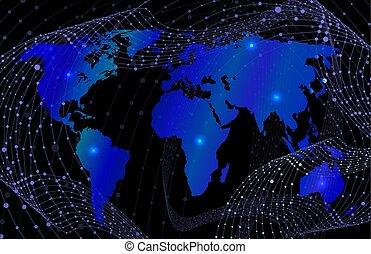 bakgrund, karta, concept., mörk, anslutning, vektor, virvlar, färger, wireframe, pricken, värld, lysande