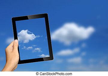 bakgrund, kompress, hand, pc, holdingen, moln