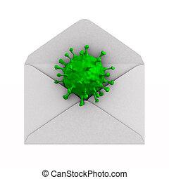 bakgrund., kuvert, 3, virus, illustration, vit, öppna, isolerat