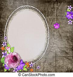 bakgrund, med, a, ram, för, den, foto, eller, text, och, med, blomningen
