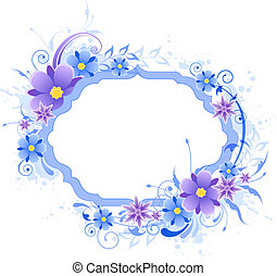 bakgrund, med, blå, och, viol blommar