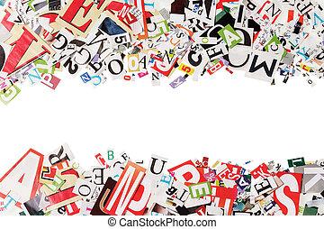 bakgrund, med, breven, från, tidningar