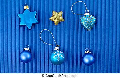 bakgrund, med, jul ornamenter