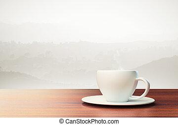 bakgrund, med, kaffe kopp, och, plats, för, din, text