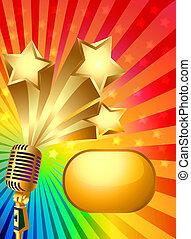 bakgrund, med, mikrofon, gold(en), stjärna, och, stråle