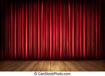 bakgrund, med, röd, sammet ridå, och, a, trä, floor.,...