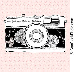 bakgrund, med, retro, kamera., vektor, illustration.,...