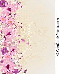bakgrund, med, rosa blommar
