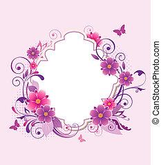 bakgrund, med, rosa, och, viol blommar