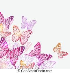 bakgrund, med, rosa, och, violett, fjärilar