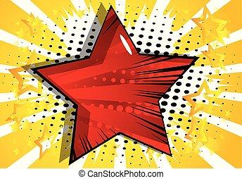 bakgrund, med, stor stjärna, fyllt, med, komiker beställ, effect.
