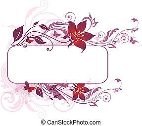 bakgrund, med, violett, och, rosa blommar