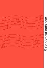 bakgrund., noteringen, musik, röd