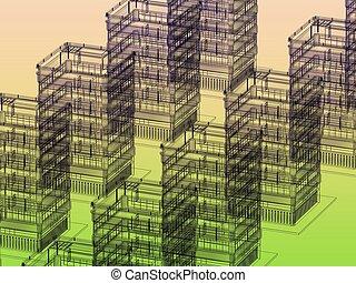 bakgrund, nymodig arkitektur