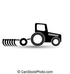 bakgrund., plog, svart, vit, traktor