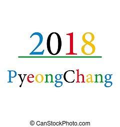 bakgrund, pyeong, 2018, chang, vit