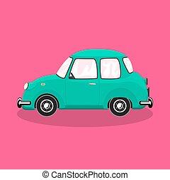 bakgrund, retro, isolerat, bil, färgrik