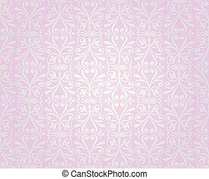 bakgrund, rosa, silver, tapet, design, årgång
