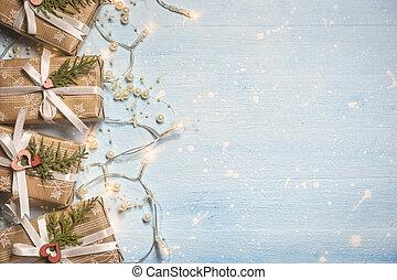 bakgrund, rutor, julgåva