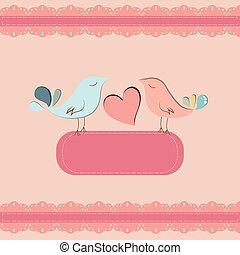 bakgrund, söt, fåglar