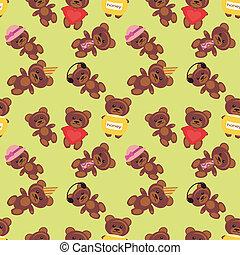 bakgrund, seamless, björn, teddy