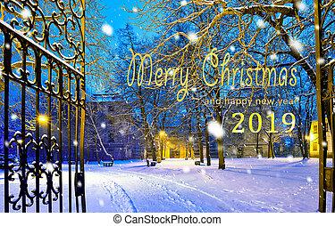 bakgrund, skrift, 2019, munter, år, färsk, jul, lycklig