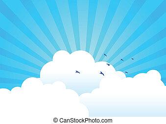 bakgrund, skyn