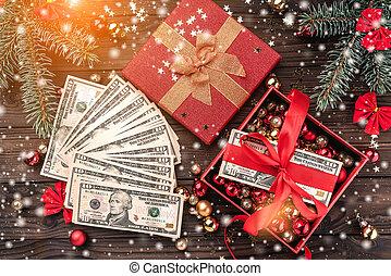 bakgrund., snowflakes., lätt, topp, verkan, artikeln, gåva, trä, pengar, utsikt., jul