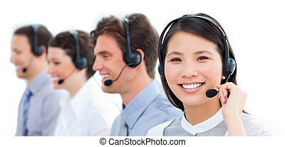 bakgrund, stående, centrera, mot, arbete, le, ringa, agentur, kund, vit, service