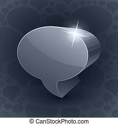 bakgrund, symbol, grå, pratstund, 3, bubbla, lysande