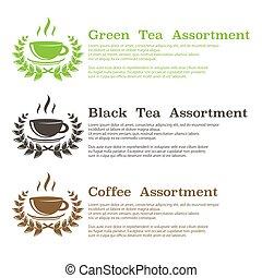 bakgrund, te, symboler, kaffe
