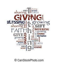 bakgrund, tithing, ge sig