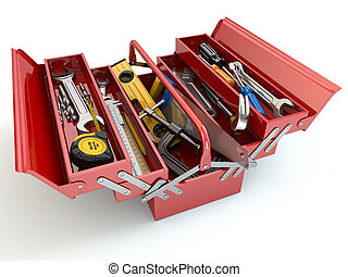 bakgrund., toolbox, vit, redskapen, isolerat