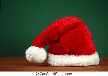 bakgrund, utrymme, ved, grön, jultomten, avskrift, hatt, röd