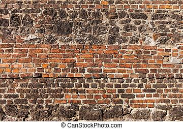 bakgrund, vägg, gammal, tegelsten, sten