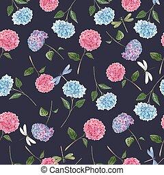bakgrund., vacker, blommig, vattenfärg, vektor, illustration., seamless, hortensia, block, mönster, flowers.