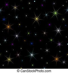 bakgrund, (vector), abstrakt, seamless, svart, stjärnor