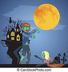 bakgrund., veder, hemsökt av spöken, fasa, cemetery., halloween, träd, pumpor, skog