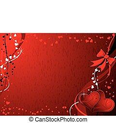 bakgrund, vektor, grunge, valentinkort